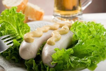 wurstel with green salad Stock Photo - 10403645