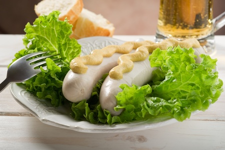 wurstel with green salad photo