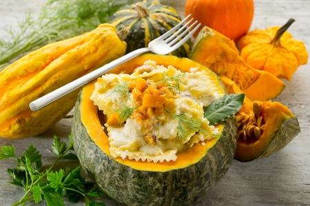 fine wood: pumpkin ravioli with parmesan cheese