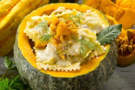 pumpkin ravioli with parmesan cheese photo