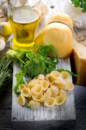 raw orecchiette with turnip top photo