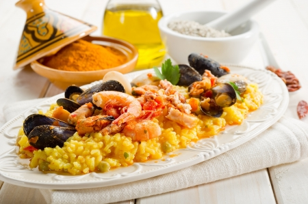 fish paella  photo