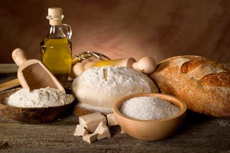 brown  bread: dough and ingredients for homemade bread