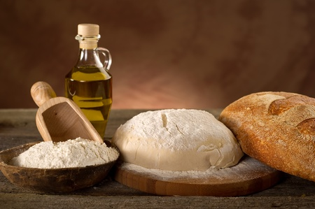 dough and ingredients for homemade bread photo