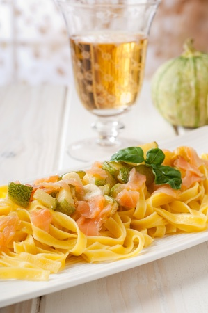 marrow squash: pasta with salmon and cream sauce