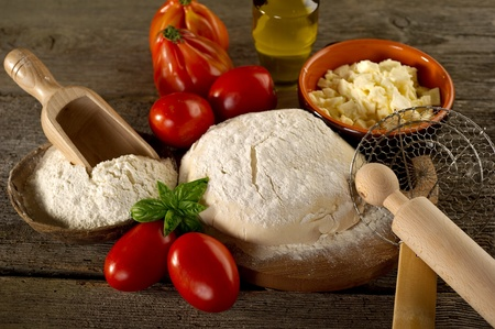 pizza dough: dough and ingredients for homemade pizza