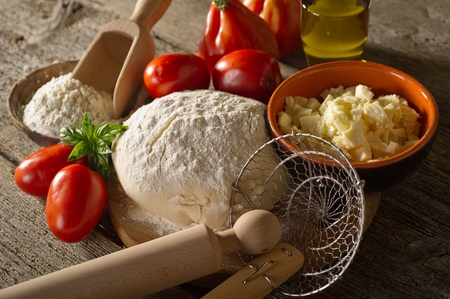 ingredient: dough and ingredients for homemade pizza