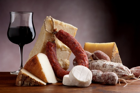 italian cheese and salami photo