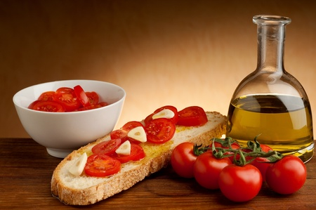 tomatoes over bruschetta photo