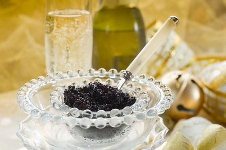 caviar and champagne over luxury table Stock Photo