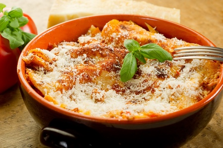 italian lasagne  with ragout  photo