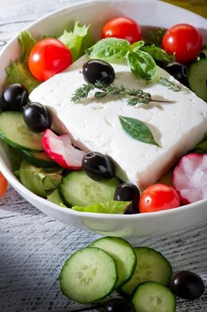 kalamata: feta traditional greek cheese and greek salad Stock Photo