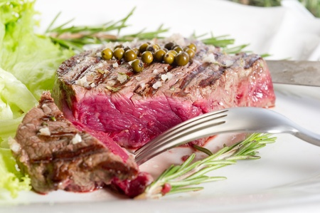 slice tenderloin with salad Stock Photo - 10426443