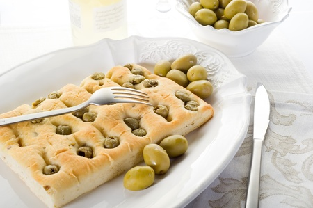 white pizza with olives photo