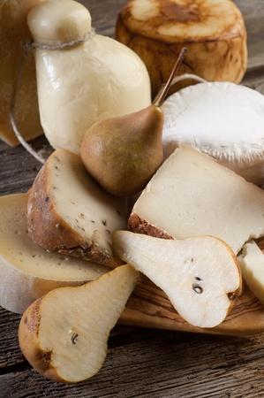 caciocavallo: variety of italian cheese and pears