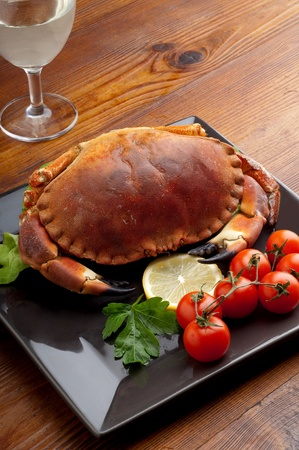 boiled crab with tomatoes photo