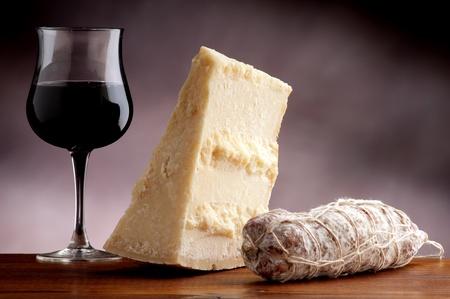 italian salami: italian cheese and salami