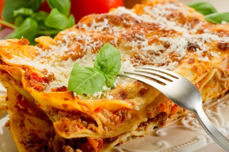 europe closeup: italian lasagne  with ragout