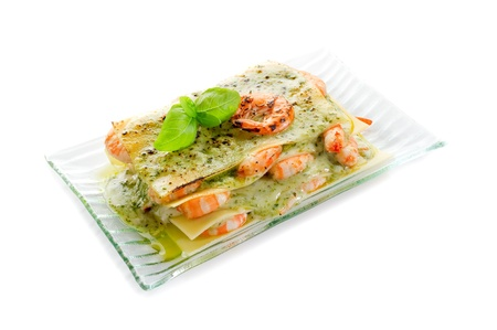 lasagne with shrimp and pesto photo
