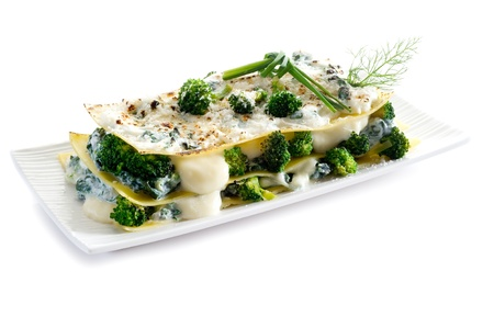 lasagna: vegetatarian lasagne with broccoli and spinach