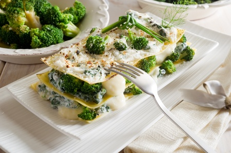 ricotta cheese: vegetatarian lasagne with broccoli and spinach