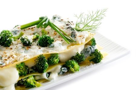vegetatarian lasagne with broccoli and spinach photo