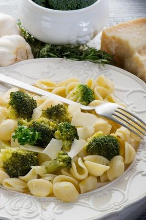 orecchiette with broccoli on dish photo