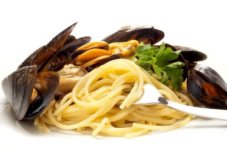 haddock: spaghetti with mussel clam and shrimp Stock Photo