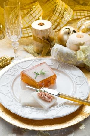 paté on golden table photo