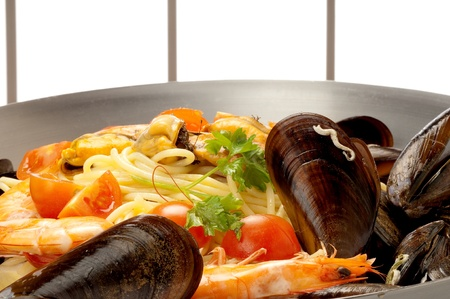 spaghetti with mussel clam and shrimp Stock Photo - 10426742