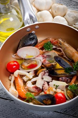 italian foods: crustacean over casserole Stock Photo