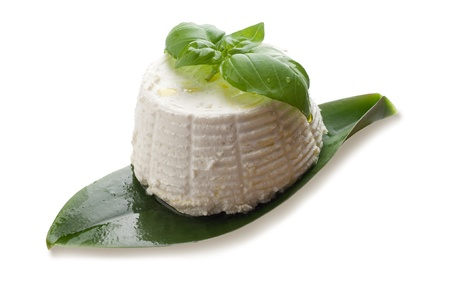 ricotta cheese: ricotta and basil on white background