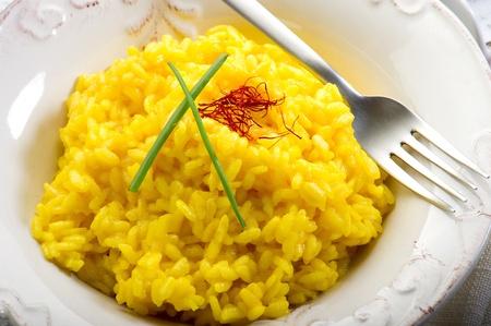 saffron: saffron rice on dish