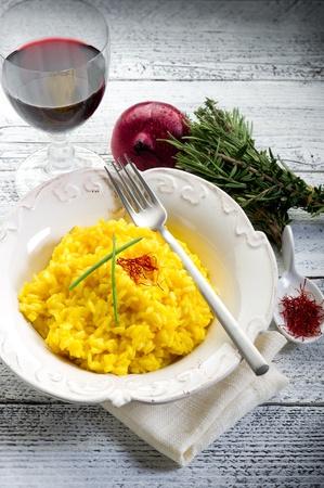 risotto: saffron rice on dish