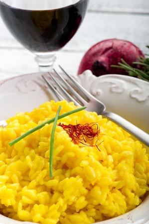 saffron rice on dish photo