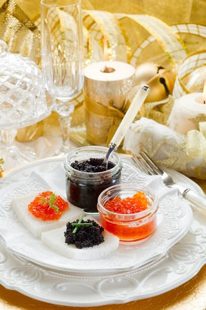 caviar: caviar canape on luxury table Stock Photo