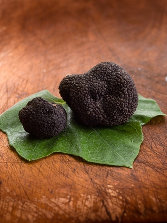 truffle: black truffle over leaf on wood background Stock Photo