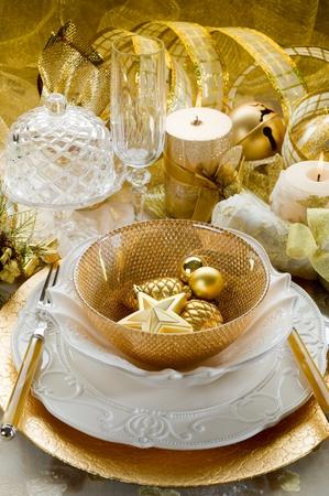 candle light table setting: christmas luxury table Stock Photo