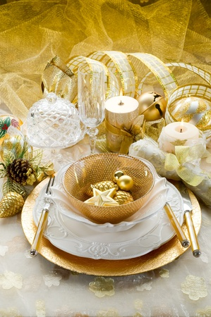 christmas dish: christmas luxury table Stock Photo