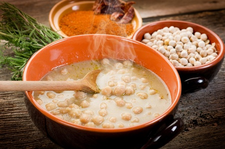 chickpeas: chickpeas soup on bowl