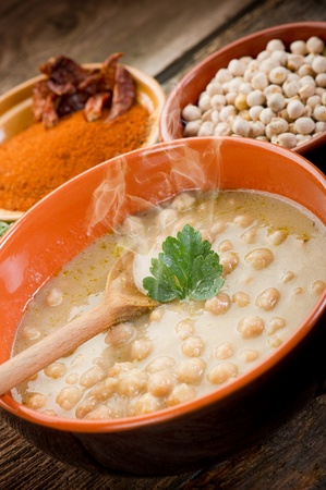 chickpea: chickpeas soup on bowl