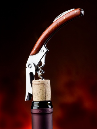 corkscrew with bottle Stock Photo