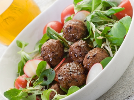 falafel: mixed salad with vegetarian meatballs slice radish and  soy sprout