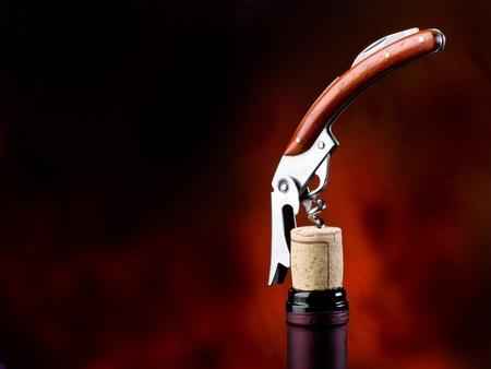 wine cork: corkscrew with bottle Stock Photo