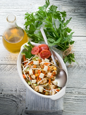 bean sprouts: salad with tofu and vegetables Stock Photo