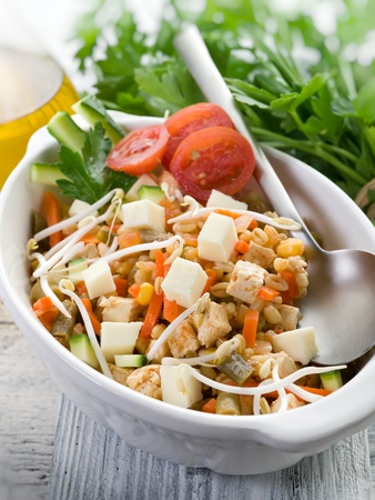 salad with tofu and vegetables Stock Photo