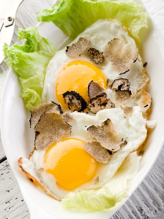 white truffle: eggs with truffle and toasted bread