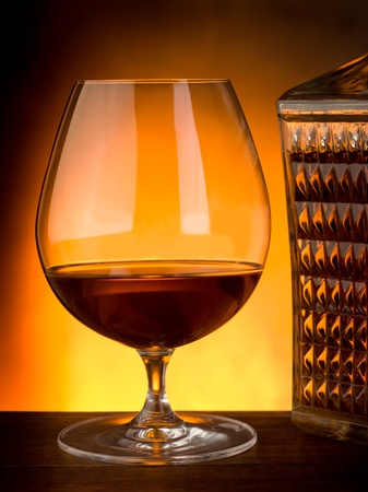 glass and luxury bottle of liquor Stock Photo - 10475276