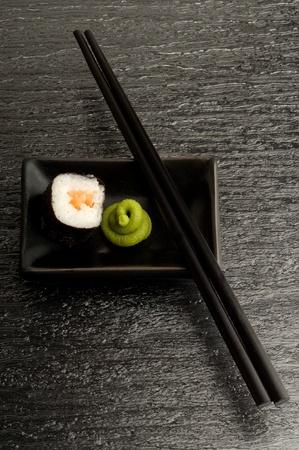 sushi wasabi and chopstick photo