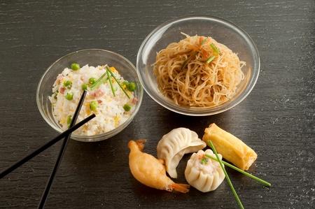 variety of china food on black background photo